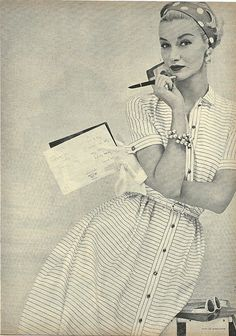 Sunny Harnett in Striped Shirt Dress 1954