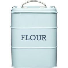 Living Nostalgia Vintage Flour Tin ($22) ❤ liked on Polyvore featuring home, kitchen & dining, food storage containers, sugar box, vintage bread box, tin food storage containers, tea box and lidded box