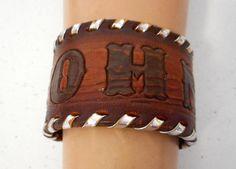 John Leather Cuff Bracelet Vintage Upcycled by honeyblossomstudio