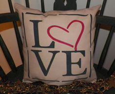 UNSTUFFED Primitive Pillow COVER Love Bedroom by wvluckygirl    https://www.etsy.com/shop/wvluckygirl?ref=si_shop