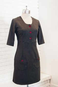 Tea and Pearls Dress in Charcoal Ponte PRESALE