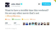 Jake Abel (he plays Luke Castellan in the Percy Jackson movies) knows the right way to promote a movie :) You're sure it isnt terrible? Percy And Nico, Luke Castellan, Percy Jackson Movie, Jake Abel, Team Leo, The Lightning Thief, Seaweed Brain, Leo Valdez, All Hero