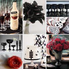 black, white, & red halloween wedding inspiration