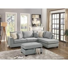 Dorris Fabric 3 Piece Sectional With Storage Ottoman, Light Gray | Overstock.com Shopping - The Best Deals on Sectional Sofas
