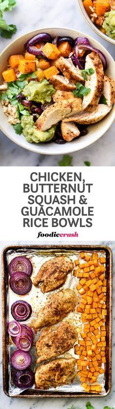 Sheet pan roasted chicken breasts, butternut squash and red onion served with black beans, brown rice and guacamole make this a nutritious meal in a bowl | http://foodiecrush.com #ricebowl #chicken #mealprep #sheetpan