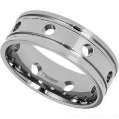 Men's titanium Ring with open holes design, and side grooves with a polished finish. Titanium Rings For Men, Wedding Rings, Engagement Rings, Jewelry, Enagement Rings, Jewlery, Bijoux, Commitment Rings, Jewerly
