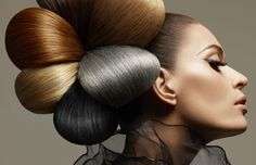 found on tumblr - credits unknown - striking avant-garde updo reminiscent of an expressive fashion-illustration