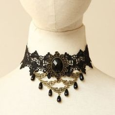 $6.14 Gorgeous Jacquard Beads and Rhinestone Embellished Lace Necklace For Women