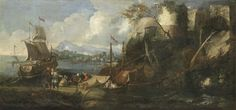 Luca Carlevarijs A capriccio view of a port with stevedores loading barges