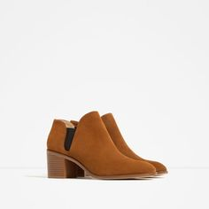 Image 2 of LEATHER ANKLE BOOTS WITH ELASTIC DETAIL from Zara