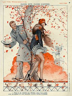 La Vie Parisienne Magazine Cover Image Courtesy of The Advertising Archives: http://www.advertisingarchives.co.uk Vintage, illustrations, covers, artwork, Retro, French magazines, Art Deco, Art Nouveau, Autumn, seasons, wind, saucy, erotica, Vald'es, weather, 1920s