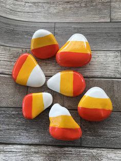 Halloween Candy Corn Hand Painted Rock Set of 7 in Serving