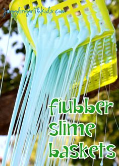 Flubber is fun to play with...but it's even more fun watching it ooze out of a basket. As it oozes out...give the kids a pair of children safe scissors so they can cut it.  Tons of fun!  #flubber #science