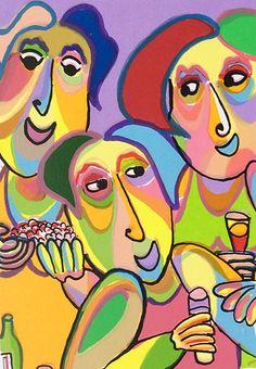 Zeefdruk Noche de verano 2 van Twan de Vos, met vrienden, eten, praten, drinken op een prachtige zomeravond
