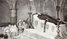 Louis XII (1462-1515) Father of the People on his funeral bier' from 'Histoire de France' by Colart, published c.1840 (engraving) Postcards, Greetings Cards, Art Prints, Canvas, Framed Pictures, T-shirts & Wall Art by French School