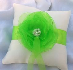 Lime Green Wedding Ring Bearer Pillow Bridal Pillow by HopesBridal, $19.95