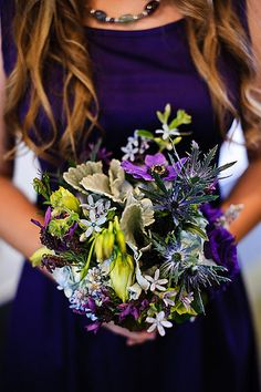 Lovely wedding flower, vibrant blue wedding colors.  Beautiful brilliant blue with a touch of purple Bridesmaid dress.  Color inspiration for my wedding colors and flower colors.