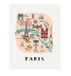 18 x Illustrated Art Print created from an original gouache painting by Anna Bond. Paris Print by Rifle Paper Co. Home & Gifts - Home Decor - Wall Art Austin, Texas Rifle Paper Company, Paris Map, Paris Travel, France Travel, Paris Poster, Travel Maps, Travel Posters, Illustration Parisienne, Plan Paris