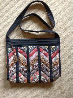 Liberty strip-pieced handbag by Debbie
