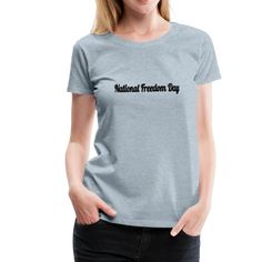 The National Freedom Day | American Flag Apparel Viscose Fabric, Women Brands, Cool T Shirts, Classic T Shirts, T Shirts For Women, Charcoal Gray, Tees, Heather Gray, How To Wear