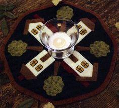 Folk Art Houses candle mat by Barri Sue Gaudet
