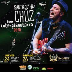 Santiago Cruz Tour Interplanetario 2018 - Santo Domingo Sáb 26 May 2018  9:00PM Teatro La Fiesta Hotel Jaragua  Precios: SPECIAL GUEST: RD$6495 VIP PLATINUM: RD$5415 PLATEA: RD$4875 BALCON: RD$4330  Info y boletas: https://uepatickets.com