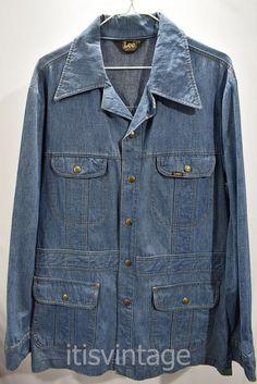 e7bbfd6ca4e Vintage 1970 s 80 s Lee Denim Sport Jacket Union Made in USA Large L Blazer