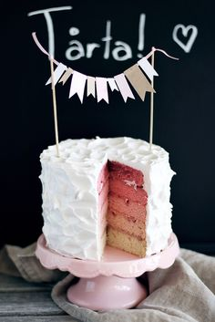Pretty Pink Rainbow Ombre Birthday Cake