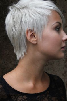 Pastel white pixie cut SUPER CUTE