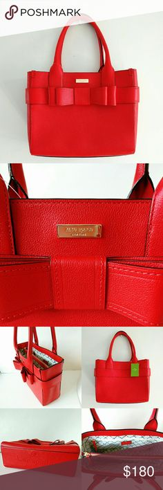 """10/10 Kate Spade Villabella Avenue Quinn Bow Tote Cute and bright tote by Kate spade in empire red color. Open top. Main zipped compartment. Interior features 2 slip pocket and 1 zipper wall pocket. 12""""L X 9.5""""H X 4""""D  7"""" shoulder drop. Brand new with tags, no dust bag. Now or never, item will be unavailable after 10/10/16. kate spade Bags Totes"""
