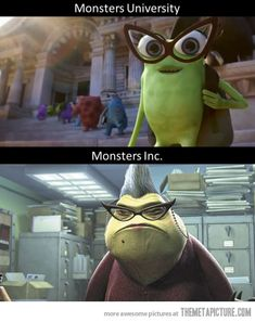"""Pinner said, """"What happens after you finish college…""""  This is not true because Roz makes a scene in MU."""