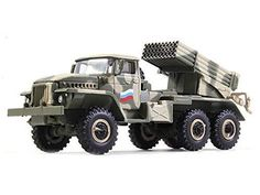 """The """"Grad"""", is a Soviet truck-mounted 122 mm multiple rocket launcher. The weapons system and the rocket it fires were developed in the early and saw their first combat use in March 1969 during the Sino-Soviet border conflict. Bm 21 Grad, Diecast Models, Military Vehicles, Monster Trucks, Scale, Tanks, Lego, History, Amazon"""