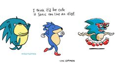 """On Friday, artist Zac Gorman thought aloud """"I think it'd be cute if Sonic ran like an idiot"""". He accompanied this thought with a cute little animation. Mike Holmes, Smurfs, Disney Characters, Fictional Characters, Animation, Running, Memes, Artist, Cute"""