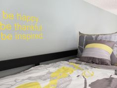 A gray and yellow color palette always works to wake up any room's design. Here, designer Erica Islas uses the happy combo in both this bunk bed's bedding and the bedroom's walls.