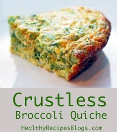 Crustless quiche makes a great alternative to traditional quiche because you get all the flavor and nutrition of the filling without the extra calories grains and carbs from the crust. Even gluten-free crusts are often high in carbs and not very healthy. Quiche Au Brocoli, Crustless Broccoli Quiche, Keto Quiche, Gluten Free Quiche, Broccoli Cheese Quiche, Crust Less Quiche, Asparagus Frittata, Low Carb Quiche, Cheddar Cheese
