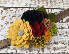 Fall Headband Wool Felt Flower Headband by SwankyPickleBoutique