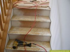 good tutorial for replacing carpeted stairs with hardwood.
