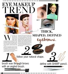 """""""Thick, defined brows!"""" by amberpolyvore ❤ liked on Polyvore"""