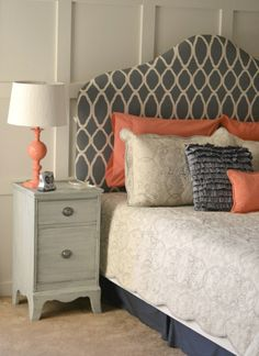 fabric headboard- gray and coral bedroom. I loves these colors for a guest bedroom :) Coral Bedroom, Bedroom Colors, Peach Bedroom, Salmon Bedroom, Yellow Bedrooms, Silver Bedroom, Home Bedroom, Bedroom Decor, Bedroom Ideas