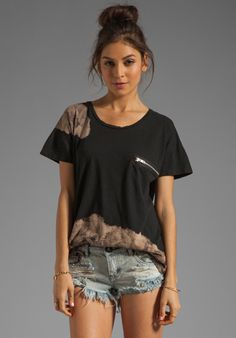 LNA Muse Zip Tee in Black with Bleach at Revolve Clothing - Free Shipping!