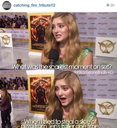 Willow something~or~other, the actress who played Primrose Everdeen in the Hunger Games movies, referring to Jennifer Lawrence/Katniss The Hunger Games, Hunger Games Memes, Hunger Games Fandom, Hunger Games Trilogy, Hunger Games Problems, Nerd Problems, Jennifer Lawrence Funny, Jenifer Lawrence, Lawrence Thomas