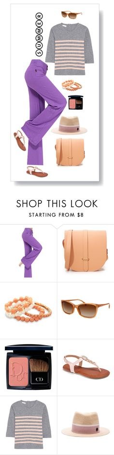 """""""Purple Pants!"""" by vering ❤ liked on Polyvore featuring The Cambridge Satchel Company, BillyTheTree, Prada, Christian Dior, Chinti and Parker, Maison Michel and stripedshirt"""
