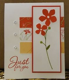 handmade card: Simple & cute ...  bright red flowers on a long stem ... sweet!!