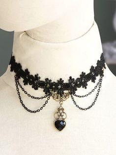 Lolita collier noir tissé avec pendentif de cœur noir