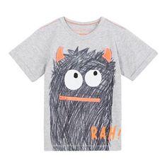bluezoo Boys' grey 'Rah' zip monster print t-shirt- | Debenhams