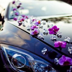Artificial orchids for sticking 20 pcs. Wedding Vans, Purple Wedding, Wedding Flowers, Just Married Car, Bridal Car, Artificial Orchids, Church Wedding Decorations, Corsage Wedding, Fancy Cars