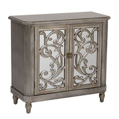 Mirrored Silver Leaf Scroll Cabinet | Kirklands
