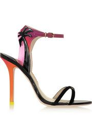 Malibu Sunset vinyl-trimmed patent-leather, suede and satin sandals
