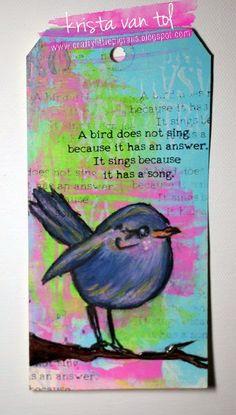 Art Tag using Dina Wakley's Scribbly Birds stamp set!