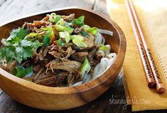 Crock Pot Asian Pork with Mushrooms #crockpot #noodles #rice #greenonions #cilantro